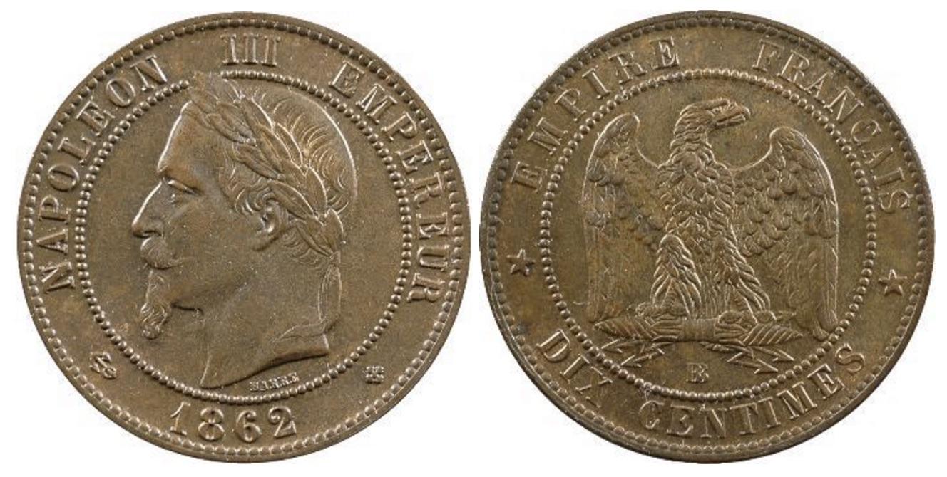 10 centimes napol on iii 1861 1868 cotations des pi ces de napol on. Black Bedroom Furniture Sets. Home Design Ideas
