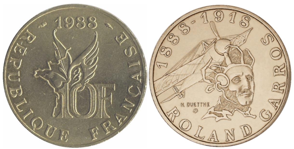 10 francs roland garros 1988 valeur et cotations des pi ces de monnaies. Black Bedroom Furniture Sets. Home Design Ideas