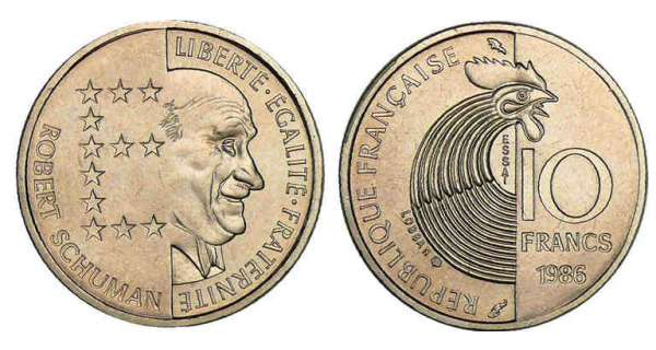 10 francs robert schuman 1986 valeur et cotations des pi ces de monnaies. Black Bedroom Furniture Sets. Home Design Ideas
