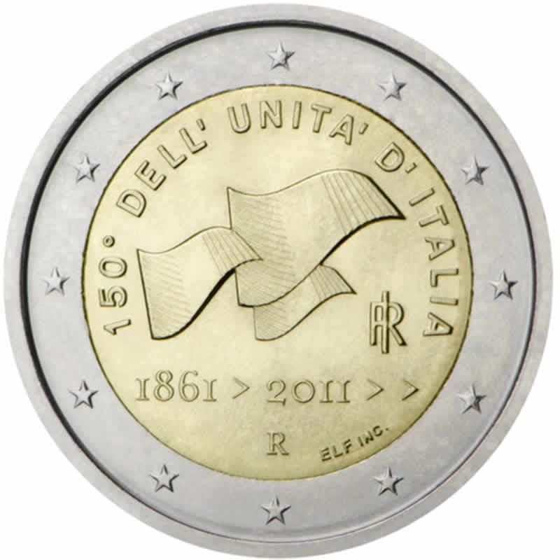 italie 2 euro comm morative 2011 valeur des pi ces de 2 euro. Black Bedroom Furniture Sets. Home Design Ideas