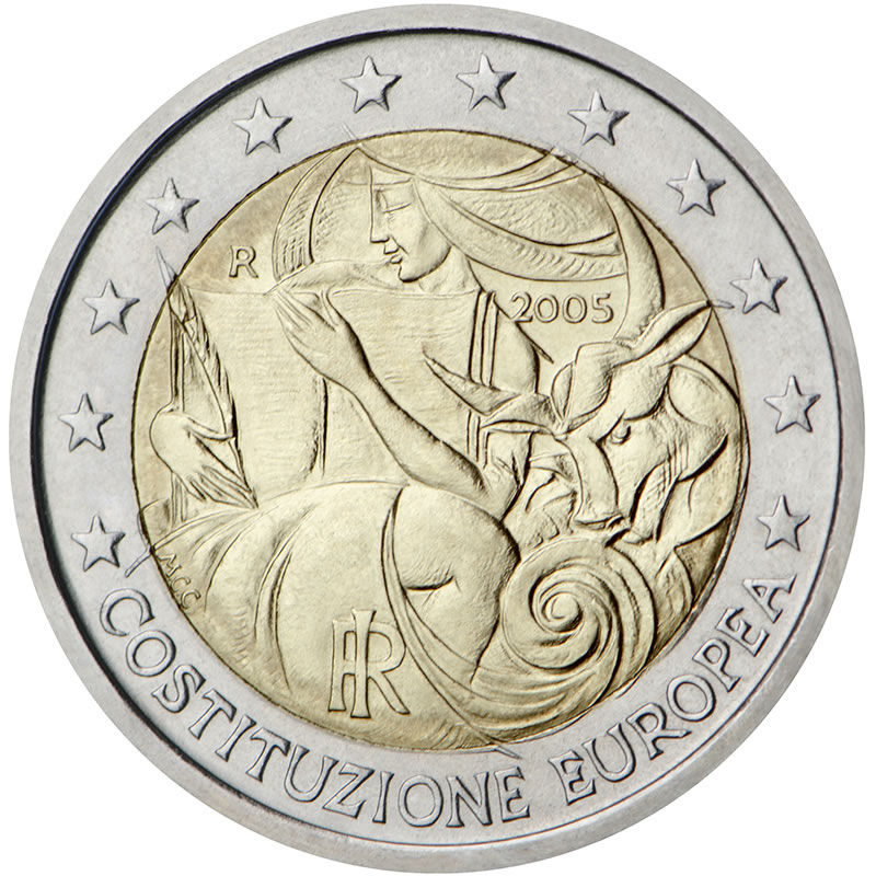 italie 2 euro comm morative 2005 valeur des pi ces de 2 euro. Black Bedroom Furniture Sets. Home Design Ideas