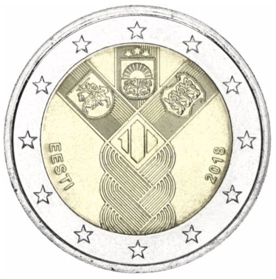 2 euro commemorative 2018 de l' Estonie