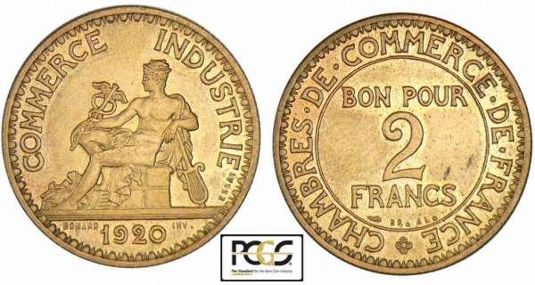 Bon pour 2 francs 1920 1927 commerce et industrie for Chambre de commerce de france bon pour 2 francs