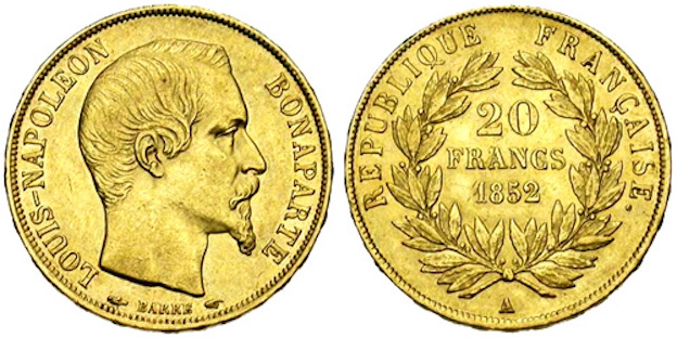 20 francs or  Louis Napoléon Bonaparte