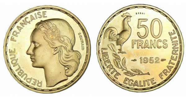 50 francs georges guiraud 1950 1958 valeur et cotations des pi ces de monnaies. Black Bedroom Furniture Sets. Home Design Ideas
