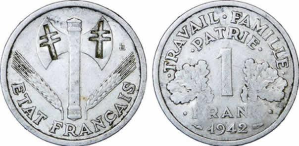 1 un franc tat francais 1942 1943 1944 travail famille patrie. Black Bedroom Furniture Sets. Home Design Ideas