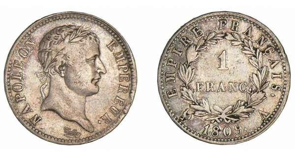 1 franc napol on empereur 1809 1814 pi ce en argent - Nettoyer piece argent ...