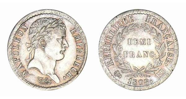 demi franc argent napol on empereur 1807 1808 cotations des monnaies. Black Bedroom Furniture Sets. Home Design Ideas