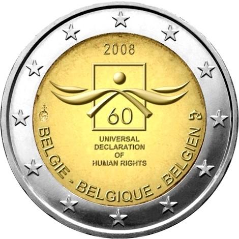 belgique 2 euro comm morative 2008 valeur des pi ces de 2 euro. Black Bedroom Furniture Sets. Home Design Ideas