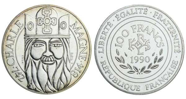 100 francs argent charlemagne 1990 valeur et cotations - Nettoyer piece argent ...