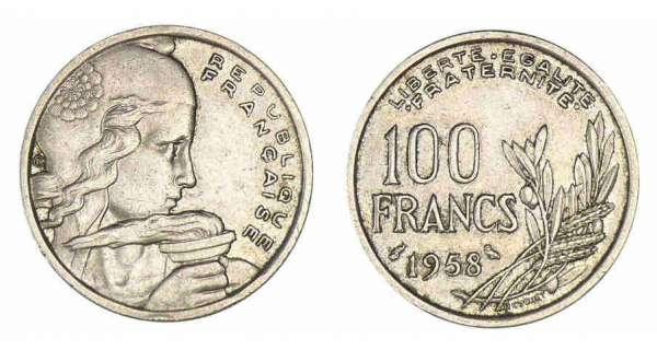 100 francs cochet valeur et cotations des pi ces de monnaies de 1954 1958. Black Bedroom Furniture Sets. Home Design Ideas