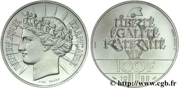 100 francs argent fraternit 1988 valeur et cotations - Nettoyer piece argent ...
