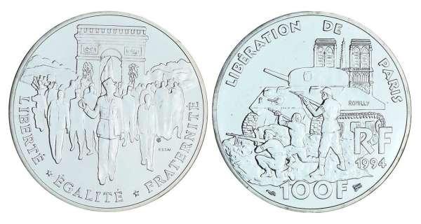 100 francs argent lib ration de paris 1994 cotations - Nettoyer piece argent ...