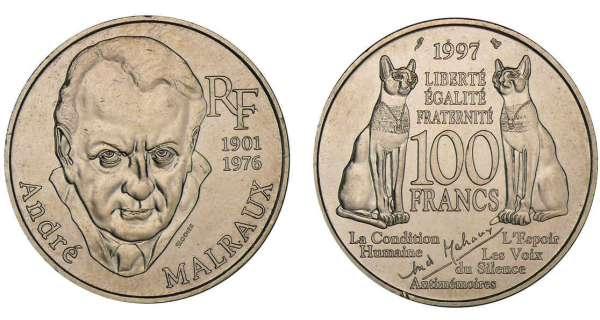 100 francs argent andr malraux 1997 cotations des - Nettoyer piece argent ...