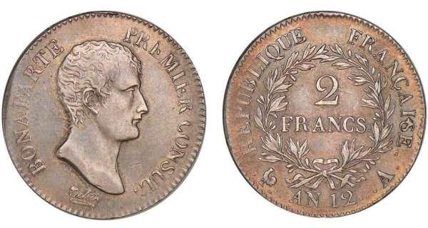 2 francs bonaparte premier consul an 12 pi ce en argent - Nettoyer piece argent ...
