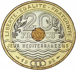 20 francs jeux m diterran ens 1993 valeur des pi ces de 20 francs. Black Bedroom Furniture Sets. Home Design Ideas