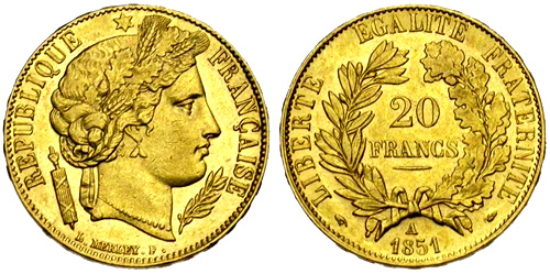 20 francs or c r s pi ces d 39 or de 20 francs 1849 1851. Black Bedroom Furniture Sets. Home Design Ideas