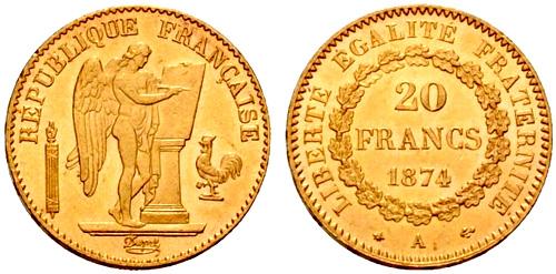 20 francs or g nie pi ces d 39 or de 20 francs 1871 1898. Black Bedroom Furniture Sets. Home Design Ideas