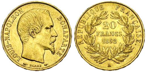 photo 20 francs or louis napoleon bonaparte 1852