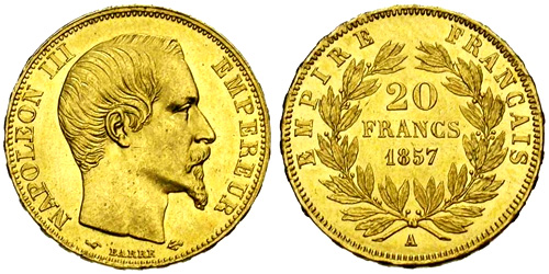 20 francs or napol on iii empereur pi ces d 39 or de 20 francs 1853 1860. Black Bedroom Furniture Sets. Home Design Ideas