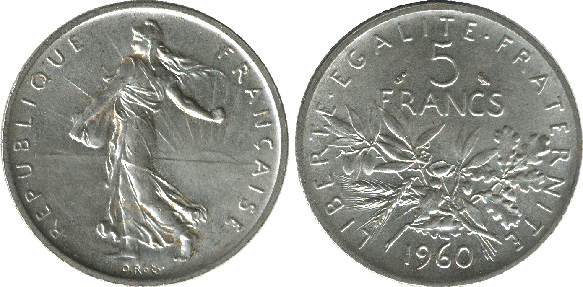 5 francs semeuse en nickel 1960 2001 cotations des pi ces fran aise. Black Bedroom Furniture Sets. Home Design Ideas