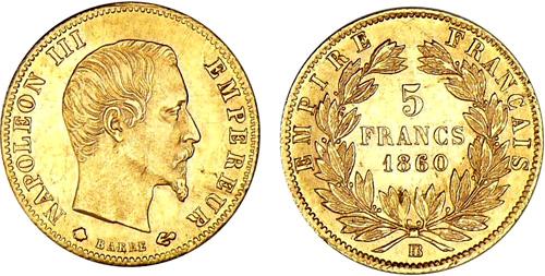 5 francs or les pi ces en or de 5 francs de 1855 1860. Black Bedroom Furniture Sets. Home Design Ideas