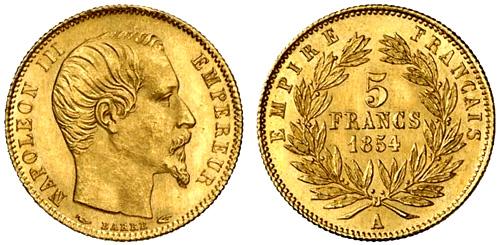 5 francs or les pi ces en or de 5 francs de 1854 1855. Black Bedroom Furniture Sets. Home Design Ideas