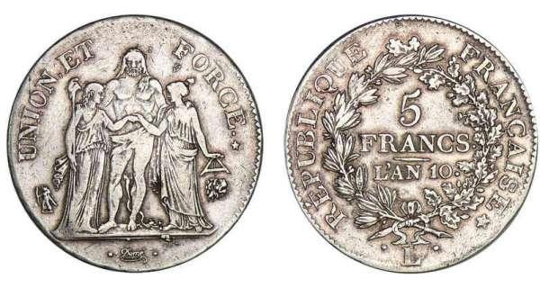 5 francs union et force an 9 11 calendrier - Nettoyer piece argent ...
