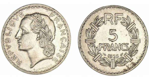 piece de monnaie 5 francs 1935
