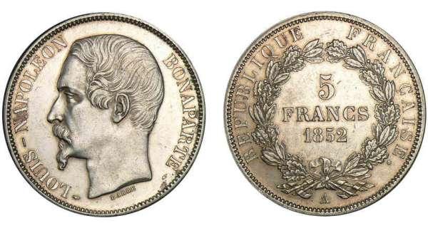 5 francs louis napol on bonaparte 1852 pi ce en argent - Nettoyer piece argent ...