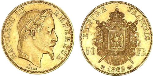 50 francs or les pi ces en or de 50 francs de 1862 1868. Black Bedroom Furniture Sets. Home Design Ideas