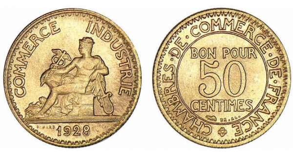 piece de monnaie bon pour 50 centimes 1924