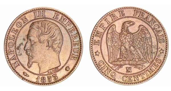 cinq centimes napoléon iii tête nue avers napoléon iii empereur