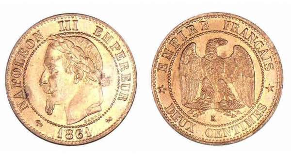 2 centimes napol on iii valeur et cotations des pi ces de monnaies. Black Bedroom Furniture Sets. Home Design Ideas