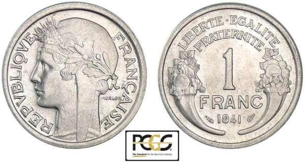 piece de monnaie 1 franc 1941