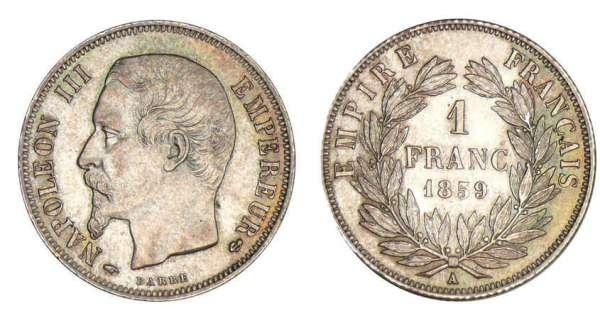 1 franc napol on iii empereur 1853 1863 pi ce en argent. Black Bedroom Furniture Sets. Home Design Ideas