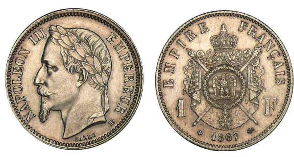 1 franc napol on iii empereur 1866 1870 pi ce en argent. Black Bedroom Furniture Sets. Home Design Ideas