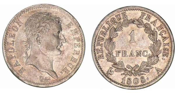 1 franc napol on empereur 1807 et 1808 pi ce en argent. Black Bedroom Furniture Sets. Home Design Ideas