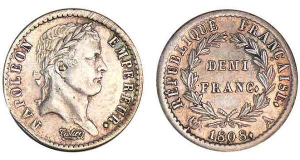 demi franc napol on empereur 1807 et 1808 pi ce en argent. Black Bedroom Furniture Sets. Home Design Ideas