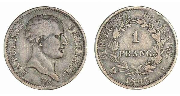 1 franc napol on empereur 1807 pi ce en argent. Black Bedroom Furniture Sets. Home Design Ideas
