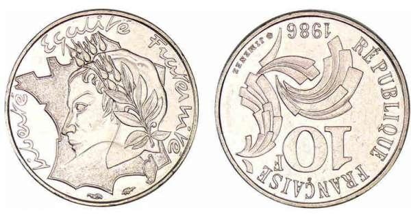 10 francs jimenez 1986 valeur et cotations des pi ces de monnaies. Black Bedroom Furniture Sets. Home Design Ideas