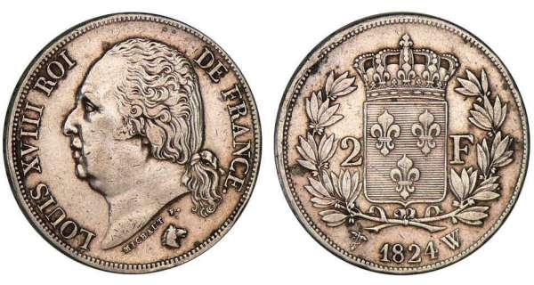 2 francs louis xviii 1816 1824 pi ce en argent. Black Bedroom Furniture Sets. Home Design Ideas