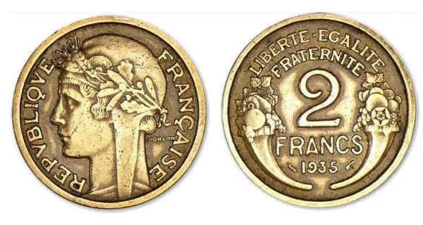 piece de monnaie 2 francs 1939