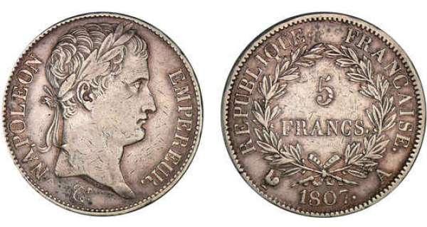5 francs napol on empereur 1807 et 1808 pi ce en argent. Black Bedroom Furniture Sets. Home Design Ideas